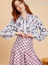 sister jane(シスタージェーン)<br>Dog Print Bow Blouse  19秋冬予約【20SJ0BL854】シャツ・ブラウス