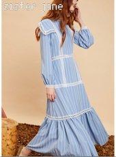 sister jane(シスタージェーン)<br>Sheer Stripe Panel Maxi Dress   19秋冬【20SJ0DR1112】マキシワンピース