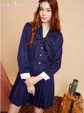 sister jane(シスタージェーン)<br>Pleated Mini Dress with Neck Tie   19秋冬【20SJ0DR1113】フレアワンピース