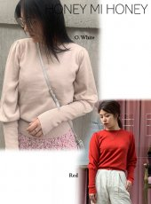 Honey mi Honey (ハニーミーハニー)<br>puffsleeve knit top  19秋冬予約【19A-SW-02】