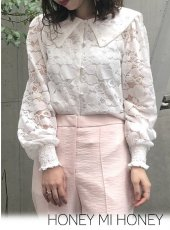 Honey mi Honey (ハニーミーハニー)<br>heart lace blouse  19秋冬予約【19A-TA-09】