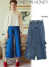 Honey mi Honey (ハニーミーハニー)<br>side ribbon denimpants  19秋冬【19A-TA-11】 Honey mi Honey20 sale