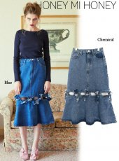 Honey mi Honey (ハニーミーハニー)<br>ribbon denimskirt  19秋冬【19A-TA-12】 Honey mi Honey20 sale