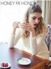 Honey mi Honey (ハニーミーハニー)<br>knit lace blouse  19秋冬予約【19A-TA-22】