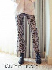 Honey mi Honey (ハニーミーハニー)<br>leopard satin pants  19秋冬予約【19A-TA-27】