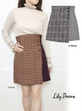 Lily Brown(リリーブラウン)<br>ツイードチェック台形スカート  19秋冬【LWFS194171】フレアスカート
