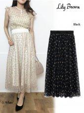 Lily Brown(リリーブラウン)<br>フラワー刺繍スカート  19秋冬予約【LWFS194007】フレアスカート