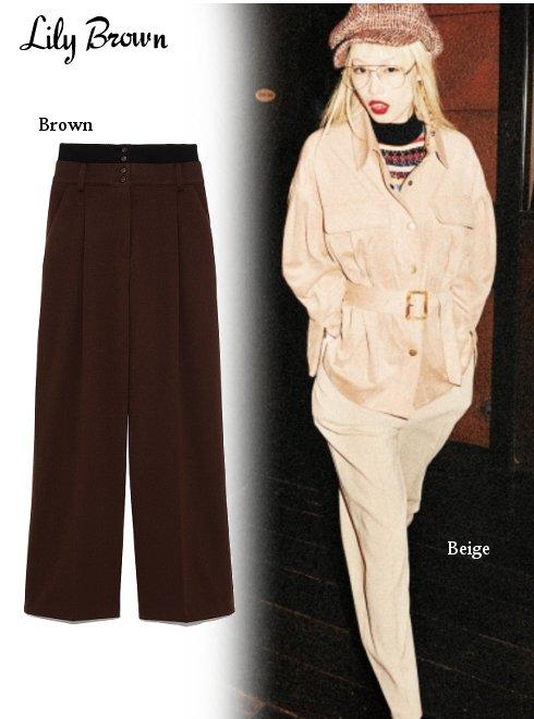 Lily Brown(リリーブラウン)<br>ウエストリブタックパンツ  19秋冬【LWFP194085】パンツ Lily Brown20 sale