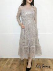Lily Brown(リリーブラウン)<br>チュールレースドレス  19秋冬【LWFO194001】フレアワンピース