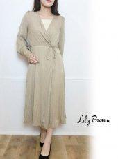 Lily Brown(リリーブラウン)<br>ジャガードカシュクールワンピース  19秋冬【LWFO194045】マキシワンピース