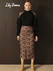 Lily Brown(リリーブラウン)<br>フラワー刺繍タイトロングスカート  19秋冬予約【LWFS194069】タイトスカート