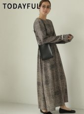 TODAYFUL (トゥデイフル)<br>Print Shirring Dress  19秋冬.予約【11920321】マキシワンピース 受注会