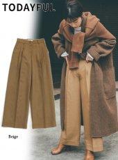 TODAYFUL (トゥデイフル)<br>Twill Tuck Trousers  19秋冬予約.【11920717】パンツ