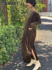 TODAYFUL (トゥデイフル)<br>Velour Slit Dress  19秋冬.予約【11920334】マキシワンピース