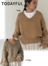TODAYFUL (トゥデイフル)<br>Vneck Heavy Knit  19秋冬.【11920526】ニットトップス  TODAYFUL20 sale