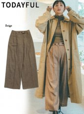 TODAYFUL (トゥデイフル)<br>Wool Check Trousers  19秋冬.予約【11920725】パンツ 受注会
