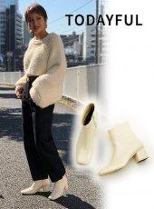 TODAYFUL (トゥデイフル)<br>Squaretoe Ankle Boots  19秋冬.【11921048】ブーツ