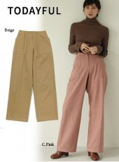 TODAYFUL (トゥデイフル)<br>Twill Wide Pants  19秋冬.【11920713】パンツ  TODAYFUL20 sale