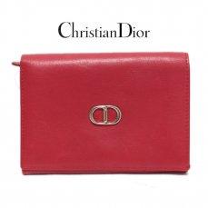 Dior ディオール ヴィンテージ<br>ロゴレザー二つ折り財布 レッド【vintage By RiLish】ランクBA 折り財布