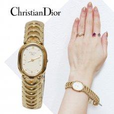 Dior ディオール ヴィンテージ<br>ゴールドチェーンQZ腕時計 3024【vintage By RiLish】ランクBメタルベルト腕時計