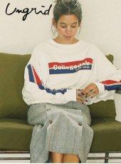 Ungrid (アングリッド)<br>CollegedaleロゴロングスリーブT  19秋冬.【111952752601】Tシャツ