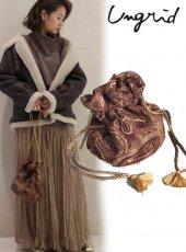 Ungrid (アングリッド)<br>ジャカード巾着BAG  19秋冬.【111951934601】ハンド・ショルダーバッグ