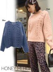Honey mi Honey (ハニーミーハニー)<br>popcorn knit pullover  19秋冬.【19A-SW-06】ニットトップス sale