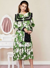 sister jane (シスタージェーン)<br>Flora Dorm Ruffle Midi Dress  19秋冬.予約【20SJ02DR1147】フレアワンピース  クリスマス