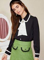sister jane (シスタージェーン)<br>Closet Cravat Ruffle Shirt  19秋冬.予約【20SJ02BL886】シャツ・ブラウス  クリスマス