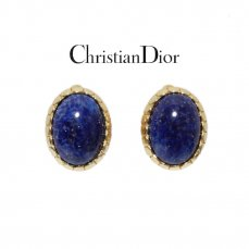 Dior ディオール ヴィンテージ<br>カラーストーンイヤリング ブルー【vintage by RiLish】ランクABピアス・イヤリング