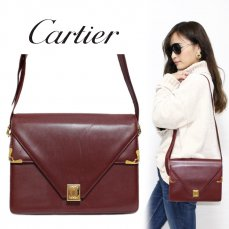 Cartier カルティエ ヴィンテージ<br>マストラインスクエアレザーショルダーバッグ【vintage by RiLish】ランクBAハンド・ショルダーバッグ