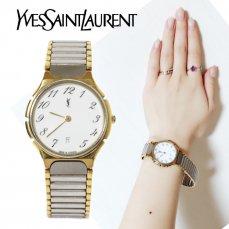 YSL イヴサンローラン ヴィンテージ<br>コンビカラーデイトQZ腕時計【vintage by RiLish】ランクBA