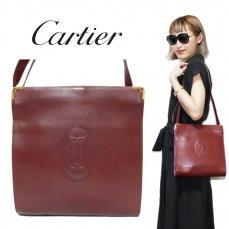 Cartier カルティエ ヴィンテージ<br>マストラインがま口スクエアショルダーバッグ【vintage by RiLish】ランクBA