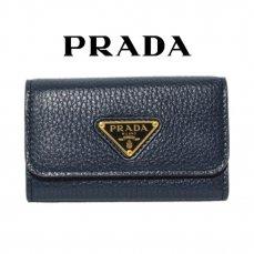 PRADA プラダ ヴィンテージ<br>三角ロゴ6連キーケース ネイビー 1PG222【vintage by RiLish】ランクBA
