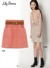 Lily Brown (リリーブラウン)<br>ツイード台形スカート  19秋冬.予約【LWFS195002】フレアスカート