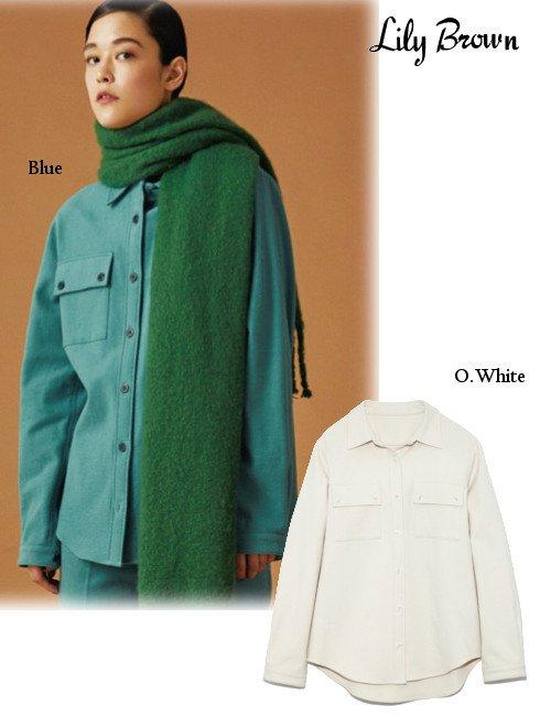 Lily Brown (リリーブラウン)<br>ウールライクコットンシャツ  19秋冬.【LWFT195052】シャツ・ブラウス Lily Brown20 sale