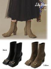 Lily Brown (リリーブラウン)<br>ビットスクエアショートブーツ  19秋冬.【LWGS195306】ブーツ