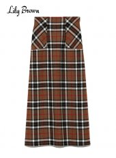 Lily Brown (リリーブラウン)<br>MOON素材ロングスカート  19秋冬.【LWFS195004】ロング・マキシスカート