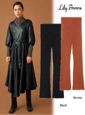 Lily Brown (リリーブラウン)<br>フレアリブレギンス  19秋冬.【LWGG195340】レッグウェア