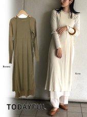TODAYFUL (トゥデイフル)<br>Cottonrib Layered Dress  20春夏予約【12010317】マキシワンピース