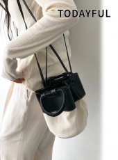 TODAYFUL (トゥデイフル)<br>Canvas x Leather Shoulder Bag  20春夏2【12011010】ハンド・ショルダーバッグ