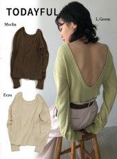 TODAYFUL (トゥデイフル)<br>Backopen Rib Long T-Shirts  20春夏予約【12010608】Tシャツ