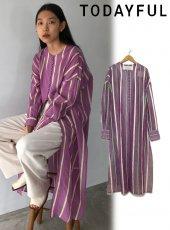 TODAYFUL (トゥデイフル)<br>Sheer Stripe Gown  20春夏予約【12010404】フレアスカート