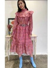 sister jane (シスタージェーン)<br>Missy Floral Belted Midi Dress  20春夏予約【21SJ00DR1165PNK】フレアワンピース