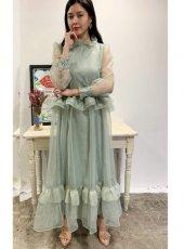 sister jane (シスタージェーン)<br>Luminous Ruffle Maxi Dress  20春夏予約【21SJ00DR1173GRN】マキシワンピース