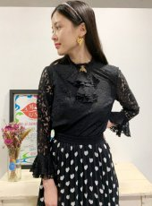 sister jane (シスタージェーン)<br>Queen Bee Lace Blouse  20春夏予約【21SJ00TO420BLK】シャツ・ブラウス