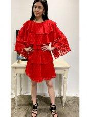 sister jane (シスタージェーン)<br>Ready Rouge Tiered Mini Dress  20春夏予約【21SJ00DR1178RED】フレアワンピース
