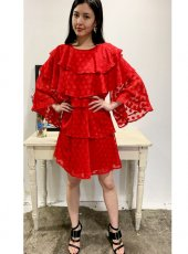 sister jane (シスタージェーン)<br>Ready Rouge Tiered Mini Dress  20春夏【21SJ00DR1178RED】フレアワンピース