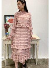 sister jane (シスタージェーン)<br>Ruler Ruffle Midi Dress  20春夏予約【21SJ00DR1183PNK】マキシワンピース