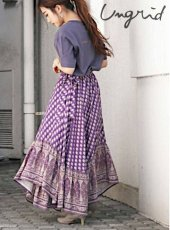 Ungrid (アングリッド)<br>ペイズリーギャザーラップスカート  20春夏【112020829901】タイトスカート